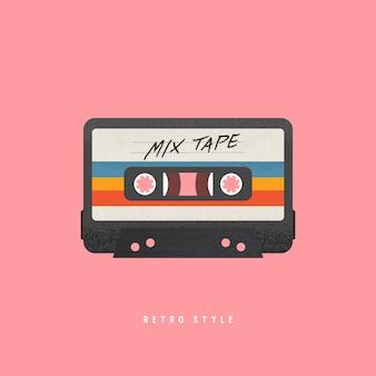 Cassetta con etichetta retrò come oggetto vintage per nastro mix revival anni '80.