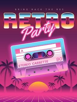 Poster di cassette. festa in discoteca retrò, banner, volantino del club di cassette audio vintage, copertina dell'invito del festival. sfondo