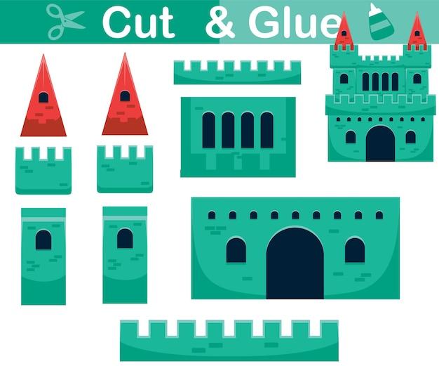 Illustrazione del fumetto del castello. gioco di carta educativo per bambini. ritaglio e incollaggio