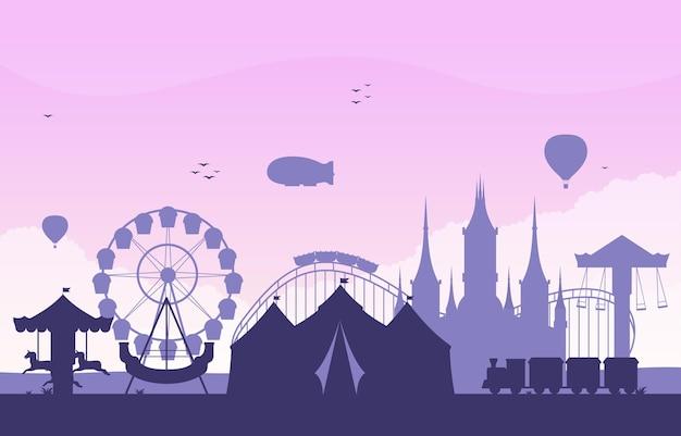 Illustrazione felice di festa del parco di divertimenti del circo del castello