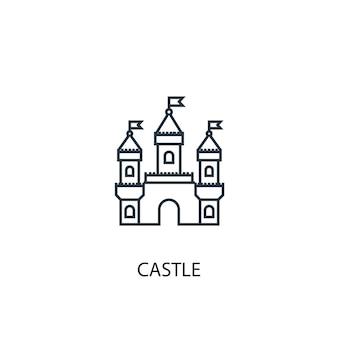 Icona della linea del concetto del castello simbolo di struttura del concetto del castello dell'illustrazione semplice dell'elemento