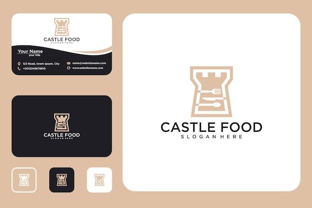 Design del logo del cibo del castello e biglietto da visita