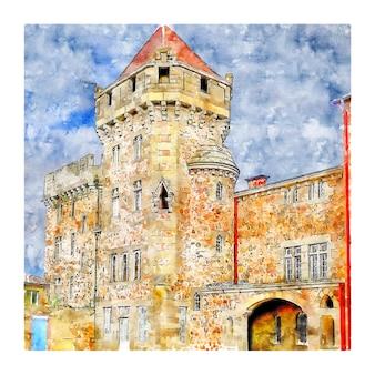 Illustrazione disegnata a mano di schizzo dell'acquerello di francia del castello