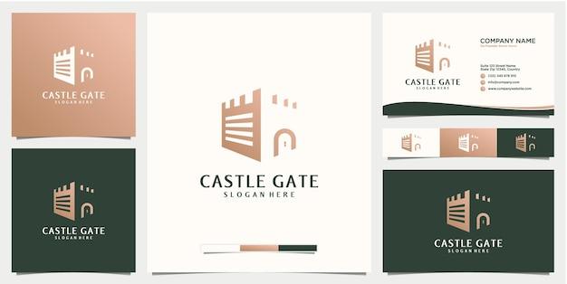 Design del logo del cancello del castello con modello di design del biglietto da visita