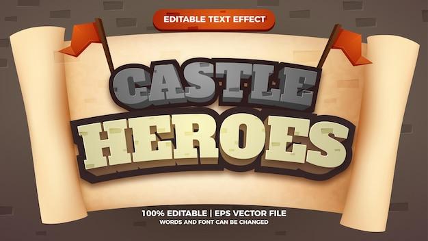 Effetto testo modificabile dei giochi del titolo del fumetto di castle heroes