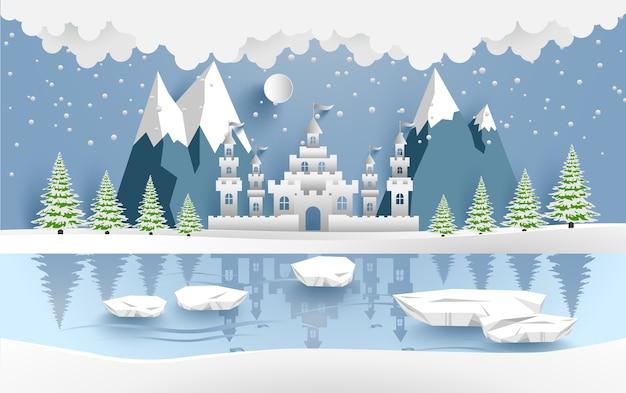 Illustrazione del castello in inverno. design arte e artigianato di carta