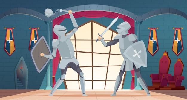 Interno del castello sala dei reali medievali con cavalieri combattenti castello in stile cartone animato