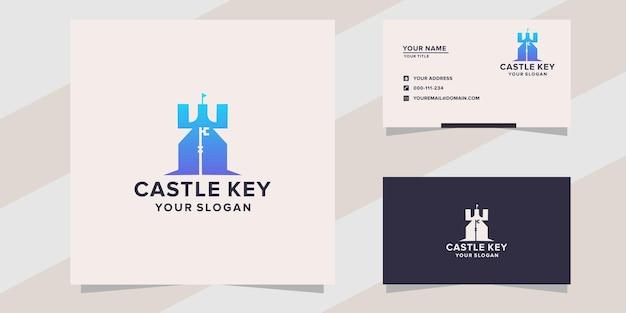 Modello di logo chiave del castello
