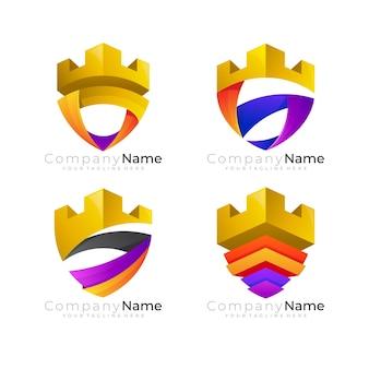 Logo del castello e modello di progettazione della lettera s, design colorato 3d