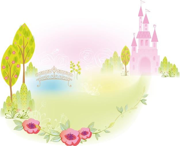 Palazzo del castello con illustrazione di sfondo del ponte e del giardino per il design della principessa delle fiabe