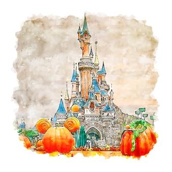 Illustrazione disegnata a mano di schizzo dell'acquerello di parigi francia del castello