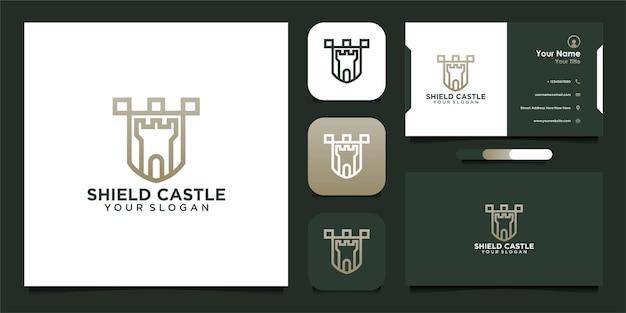 Design del logo dello scudo del castello con biglietto da visita