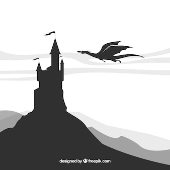 Priorità bassa della siluetta del castello con il volo del drago