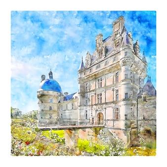 Illustrazione disegnata a mano di schizzo dell'acquerello di castello valencay francia