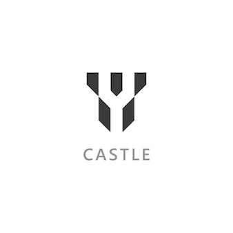 Icona del logo vettoriale del castello design vettoriale del modello