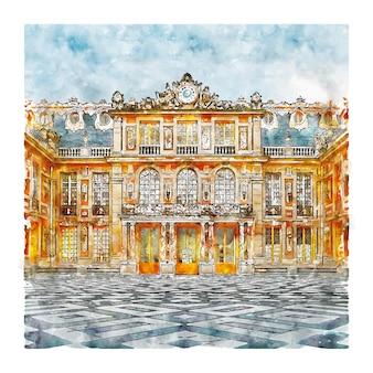 Illustrazione disegnata a mano di schizzo dell'acquerello del castello di versailles parigi francia