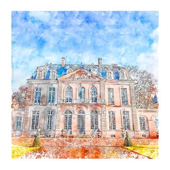 Illustrazione disegnata a mano di schizzo dell'acquerello di castello wina francia