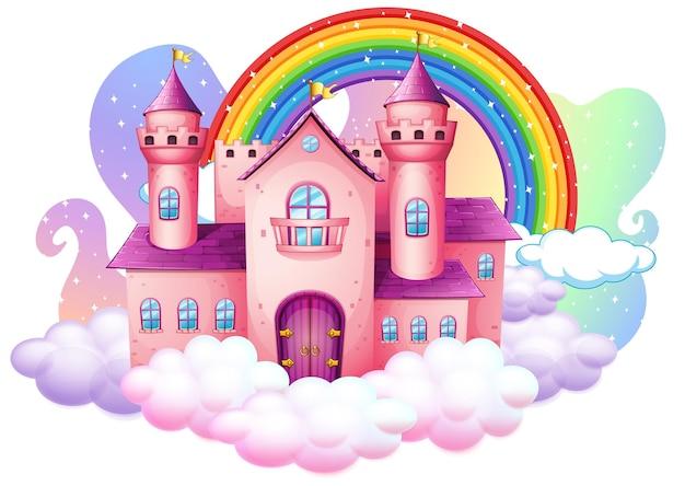 Castello con arcobaleno sulla nuvola isolato su sfondo bianco