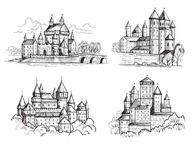 Castelli. edifici medievali per cavalieri repubblica ceca castelli vintage vecchia costruzione architettonica di praga disegnati a mano insieme. castello con la torre, illustrazione gotica famosa del punto di riferimento di schizzo