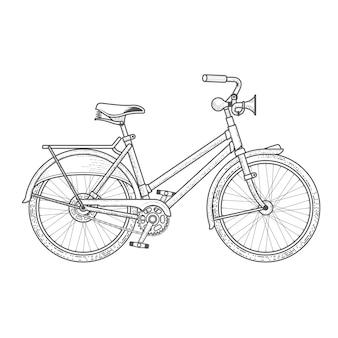 Bici casuale con il clacson della mano isolato su bianco