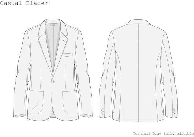 Disegnare a mano tecnico di blazer casual