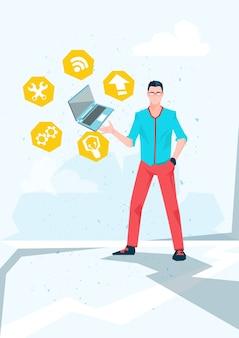 Icone di calcolo di internet del computer portatile della tenuta dell'uomo casuale di affari