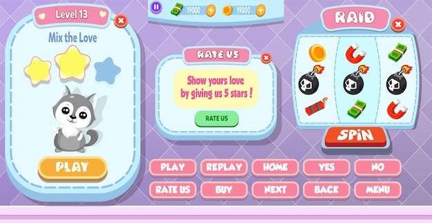 Casual cartoon kids game ui level complete, spin machine and rate us menu pop up with stars, buttons and cat