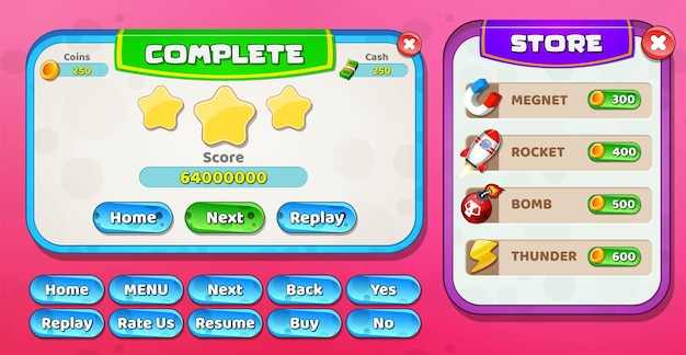 Casual cartoon kids game ui level complete e store menu pop up con stelle e pulsanti
