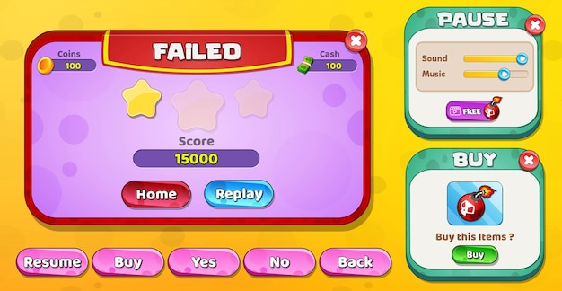 Casual cartoon kids game ui level failed, pause and buy menu pop up with stars buttons