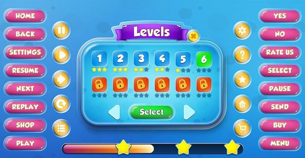 Casual cartoon kids game menu di selezione del livello dell'interfaccia utente pop-up con pulsanti e barra di caricamento