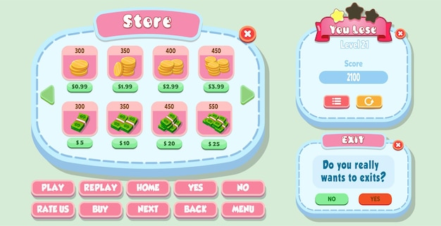 Casual cartoon kids game ui store, you lose and exit menu pop up with stars buttons