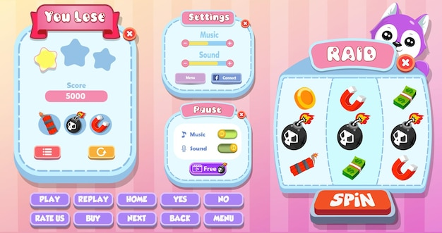 Casual cartoon kids game ui you lose, settings, pause and spin machine menu pop up with stars, buttons and cat