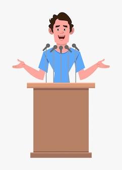 L'altoparlante personaggio dei cartoni animati casual uomo sta dietro il podio e parla. personaggio dei cartoni animati in stile piatto per il tuo design, movimento o animazione