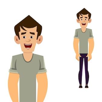 Illustrazione casuale di vettore di posa diritta del personaggio dei cartoni animati dell'uomo per la vostra progettazione, moto o animazione