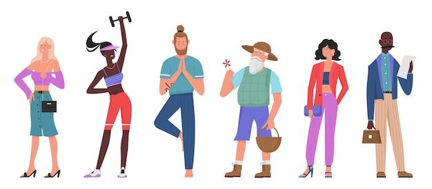 Insieme dell'illustrazione di vettore piatto di persone casuali, raccolta di vari personaggi in piedi del fumetto dell'uomo anziano, yogist atleta, ragazza alla moda di modo isolata su bianco
