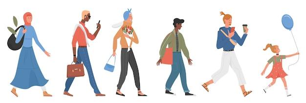 Insieme dell'illustrazione della gente casuale. raccolta di vari personaggi di moda a piedi alla moda di donna musulmana, signora anziana con fiori e borsa, uomo d'affari che si affretta hipster, bambino felice