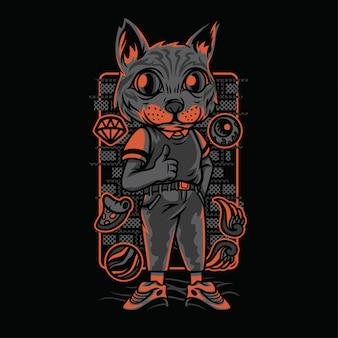 Illustrazione di razze di gatto stile casual