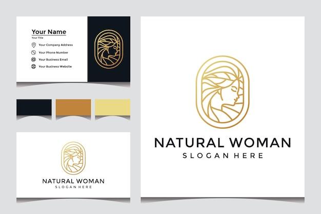 Volto di donna casual con logo in stile artistico