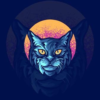 Illustrazione di logo della mascotte animale del gatto