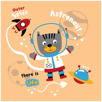 Gatto l'astronauta divertente cartone animato animale