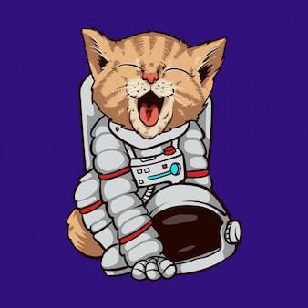 Illustrazione dell'astronauta dell'astronauta del gatto
