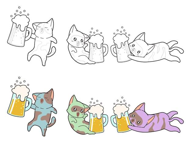 Pagina da colorare di gatto e birra per bambini