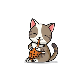 Logo mascotte carino gatto boba