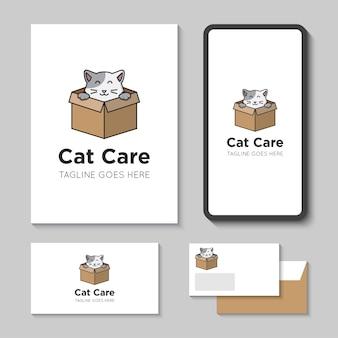 Logo di cura del gatto e icona illustrazione vettoriale con modello di app mobile