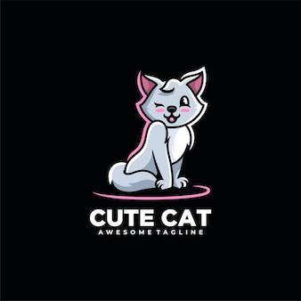 Gatto del fumetto carino illustrazione logo design