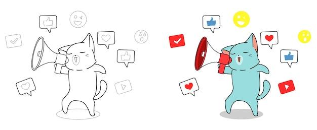 Fumetto del gatto con le icone sociali da colorare pagina