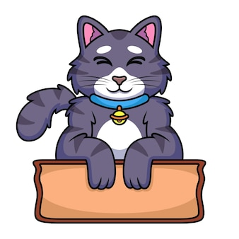 Fumetto del gatto con il segno di legno. icona animale illustrazione