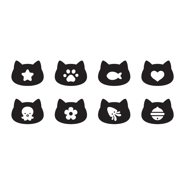Icona della testa del gattino del fumetto del personaggio del gatto