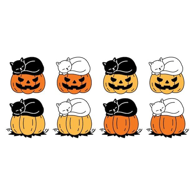 Zucca di halloween del gattino del fumetto del personaggio del gatto che dorme