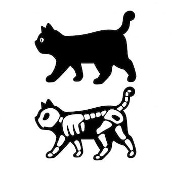 Personaggio dei gatti gattino osso halloween scheletro dei cartoni animati